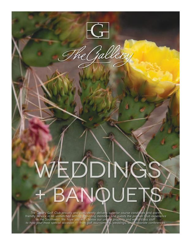 An image of the front cover of the wedding brochure for The Gallery Golf Club